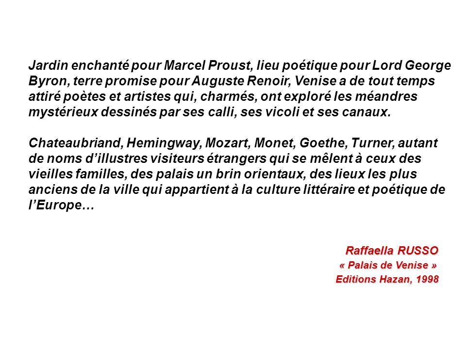 Jardin enchanté pour Marcel Proust, lieu poétique pour Lord George Byron, terre promise pour Auguste Renoir, Venise a de tout temps attiré poètes et artistes qui, charmés, ont exploré les méandres mystérieux dessinés par ses calli, ses vicoli et ses canaux.
