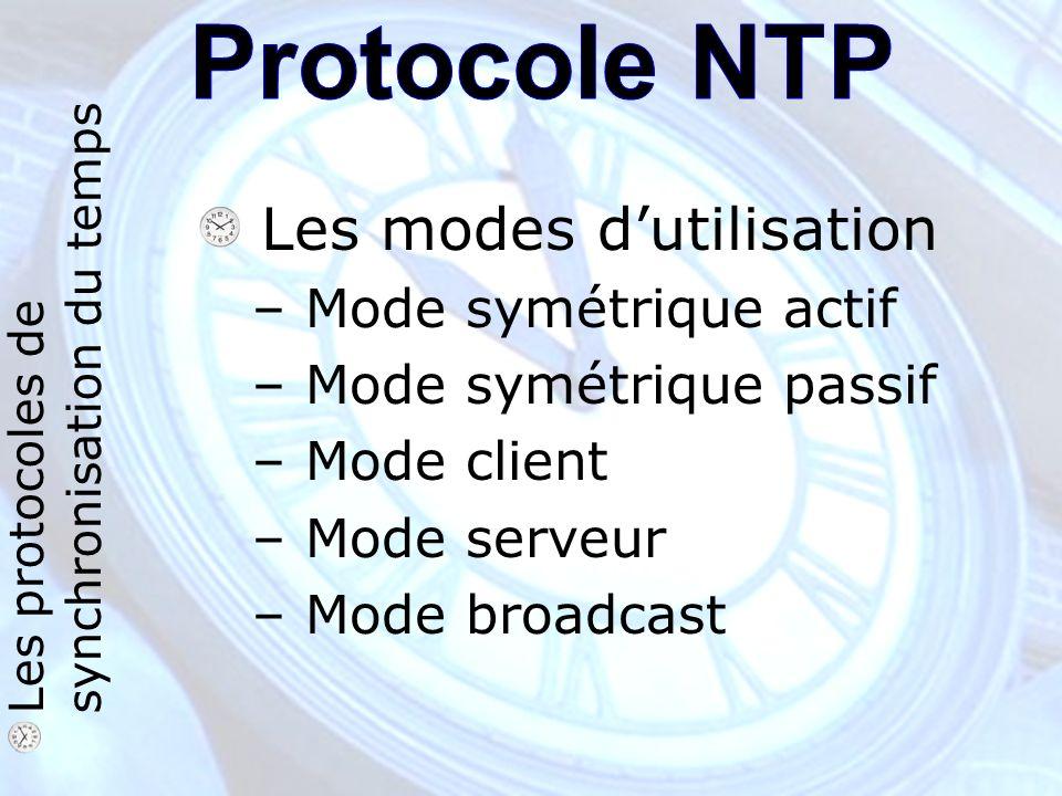 Les protocoles de synchronisation du temps Les modes dutilisation – Mode symétrique actif – Mode symétrique passif – Mode client – Mode serveur – Mode broadcast