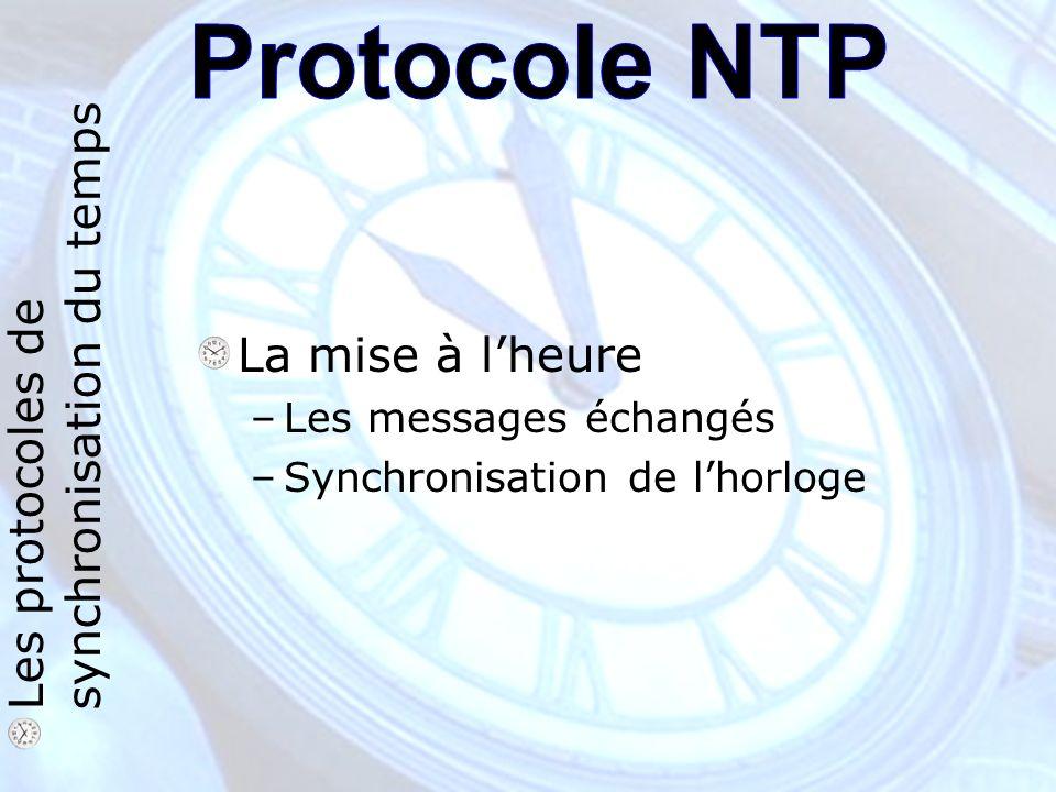 La mise à lheure –Les messages échangés –Synchronisation de lhorloge Les protocoles de synchronisation du temps