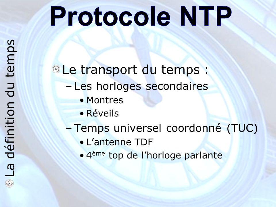 Le transport du temps : –Les horloges secondaires Montres Réveils –Temps universel coordonné (TUC) Lantenne TDF 4 ème top de lhorloge parlante La définition du temps