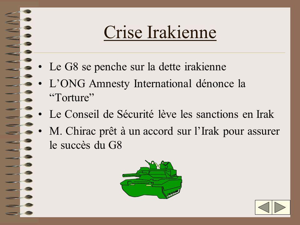 Crise Irakienne Le G8 se penche sur la dette irakienne LONG Amnesty International dénonce la Torture Le Conseil de Sécurité lève les sanctions en Irak M.