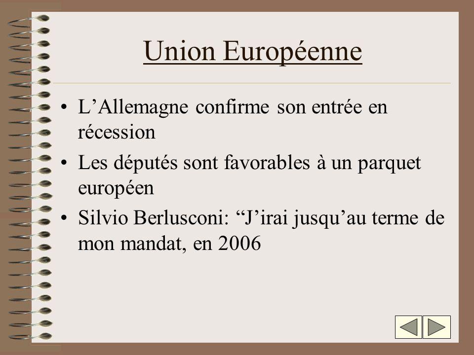 Union Européenne LAllemagne confirme son entrée en récession Les députés sont favorables à un parquet européen Silvio Berlusconi: Jirai jusquau terme de mon mandat, en 2006