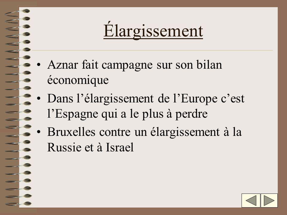 Élargissement Aznar fait campagne sur son bilan économique Dans lélargissement de lEurope cest lEspagne qui a le plus à perdre Bruxelles contre un élargissement à la Russie et à Israel
