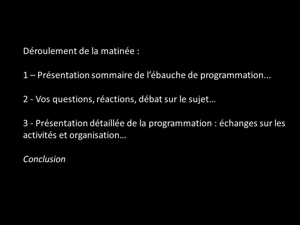 Déroulement de la matinée : 1 – Présentation sommaire de lébauche de programmation... 2 - Vos questions, réactions, débat sur le sujet… 3 - Présentati