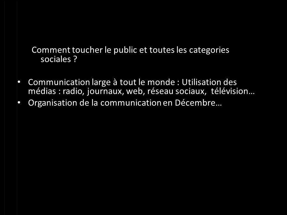 Comment toucher le public et toutes les categories sociales ? Communication large à tout le monde : Utilisation des médias : radio, journaux, web, rés