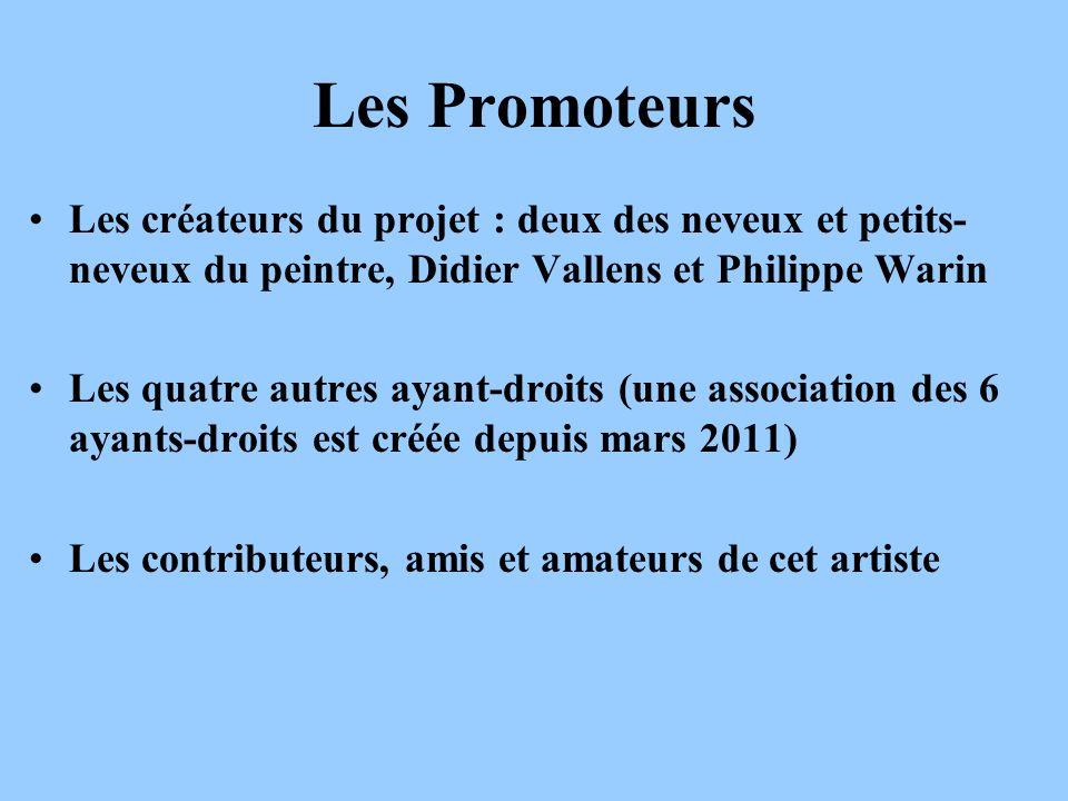 Les actions déjà réalisées (1/3) Les promoteurs ont, avec plusieurs autres personnes : 1.Créé une Association des Ayants Droit du Peintre Henry Valensi (AADPHV), avec un support déchange sous forme de Blog : http://musicalisme.wordpress.com (Publication de la déclaration au JO du 19 mars 2011) :http://musicalisme.wordpress.com Président : Didier Vallens Secrétaire : Philippe Warin 2.Ouvert un compte bancaire et commencé à lalimenter avec des cotisations (5 reçues en 2011, en cours pour 2012) et des prêts personnels de Didier Vallens 3.Continué de recenser lensemble des œuvres du peintre (certaines retrouvées à la BDIC située aux Invalides), et suivi les ventes publiques.