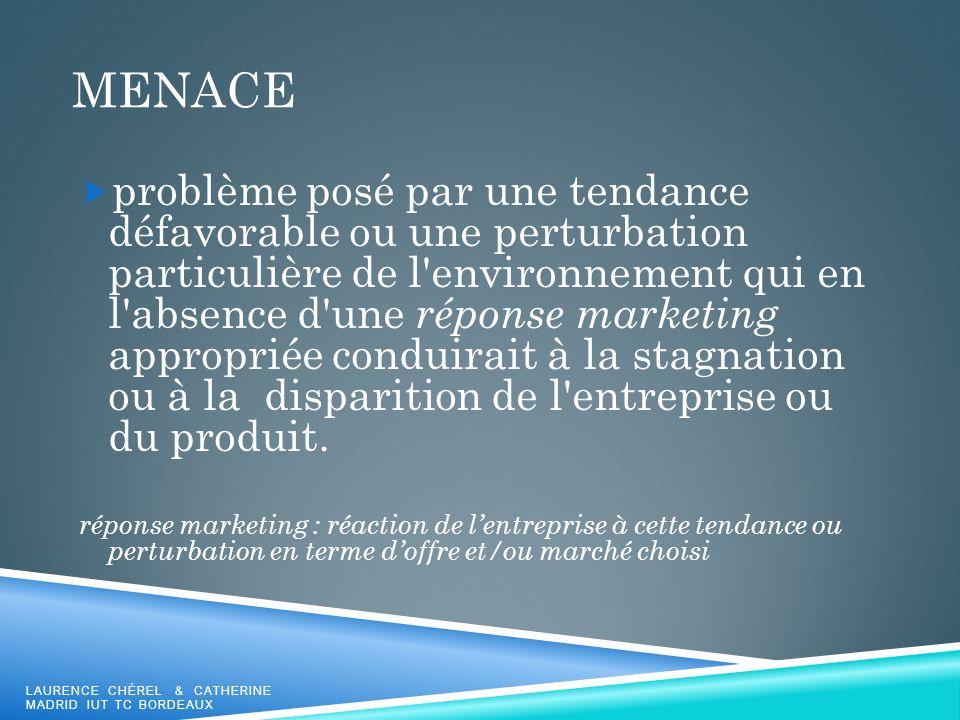 MENACE problème posé par une tendance défavorable ou une perturbation particulière de l'environnement qui en l'absence d'une réponse marketing appropr