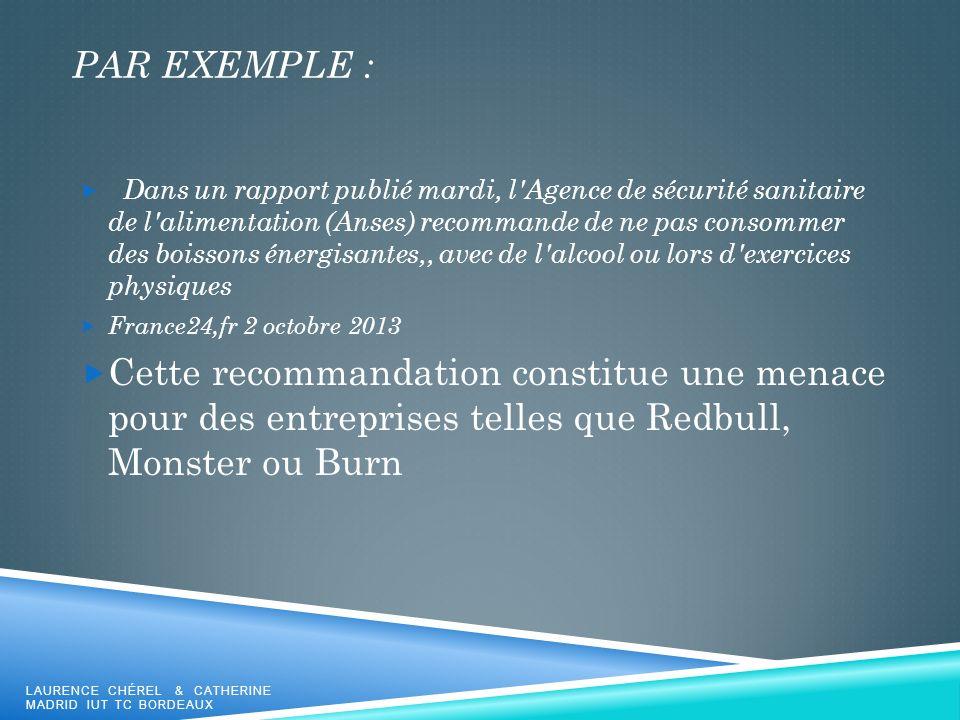PAR EXEMPLE : Dans un rapport publié mardi, l'Agence de sécurité sanitaire de l'alimentation (Anses) recommande de ne pas consommer des boissons énerg