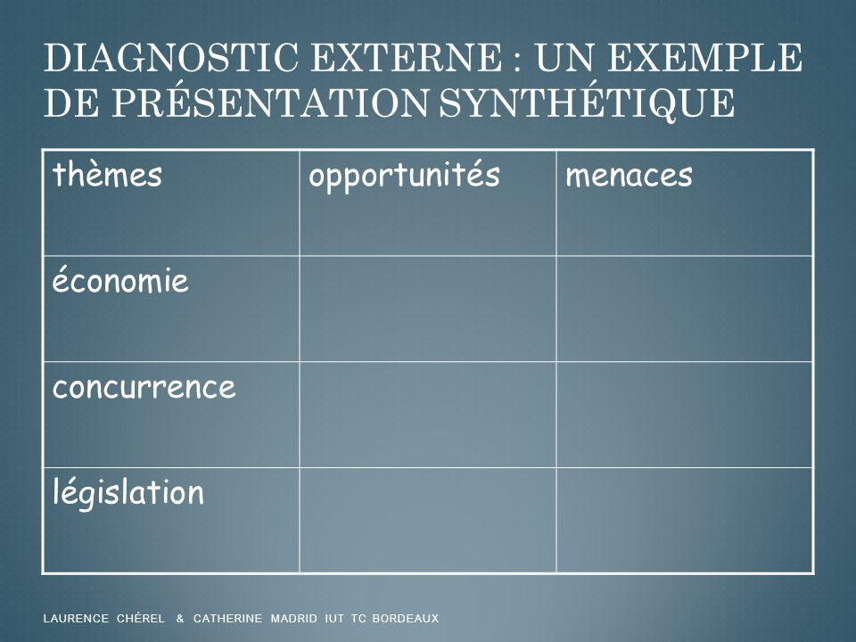 DIAGNOSTIC EXTERNE : UN EXEMPLE DE PRÉSENTATION SYNTHÉTIQUE thèmesopportunitésmenaces économie concurrence législation LAURENCE CHÉREL & CATHERINE MAD