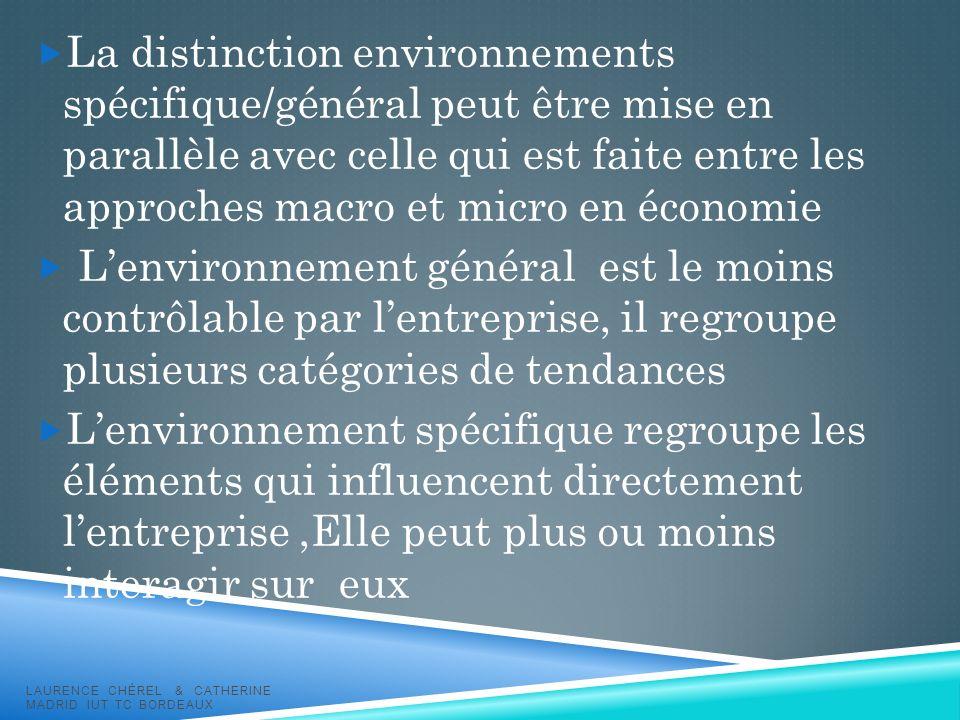 La distinction environnements spécifique/général peut être mise en parallèle avec celle qui est faite entre les approches macro et micro en économie L