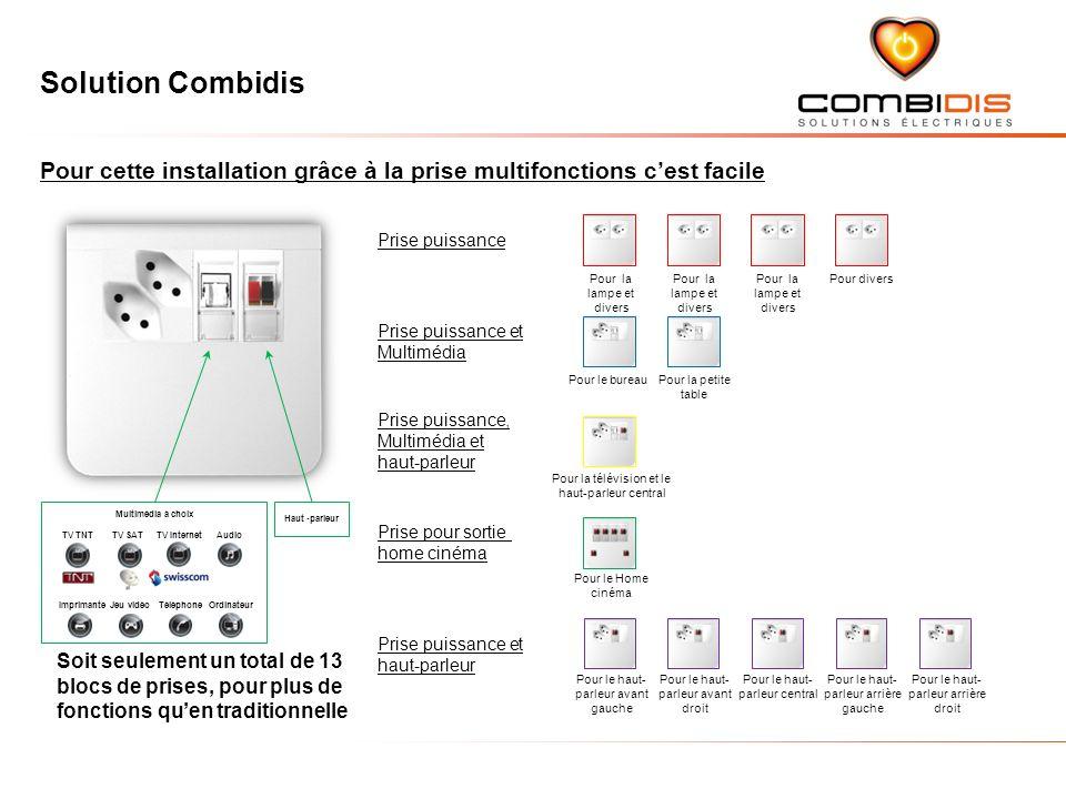 Solution Combidis Pour cette installation grâce à la prise multifonctions cest facile Soit seulement un total de 13 blocs de prises, pour plus de fonc
