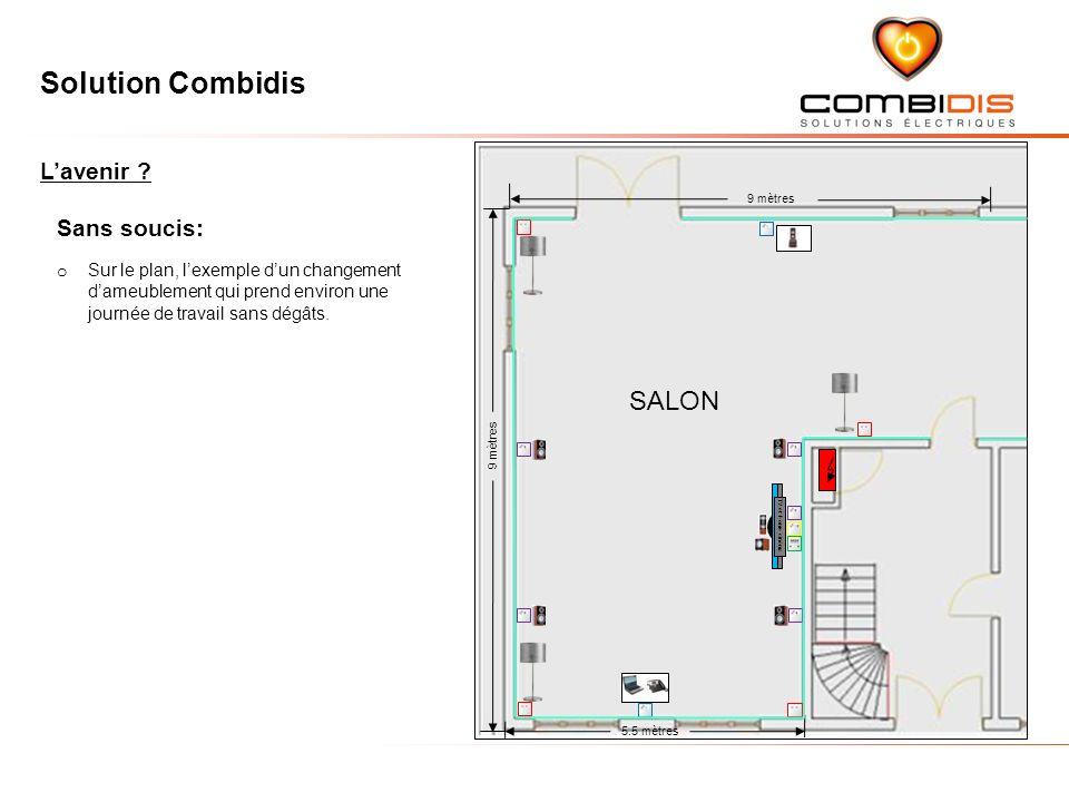 Solution Combidis 9 mètres 5.5 mètres 9 mètres SALON Sans soucis: o Sur le plan, lexemple dun changement dameublement qui prend environ une journée de