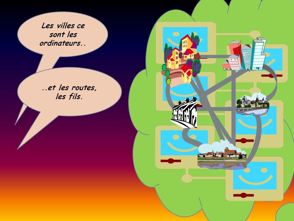 Les villes ce sont les ordinateurs....et les routes, les fils.