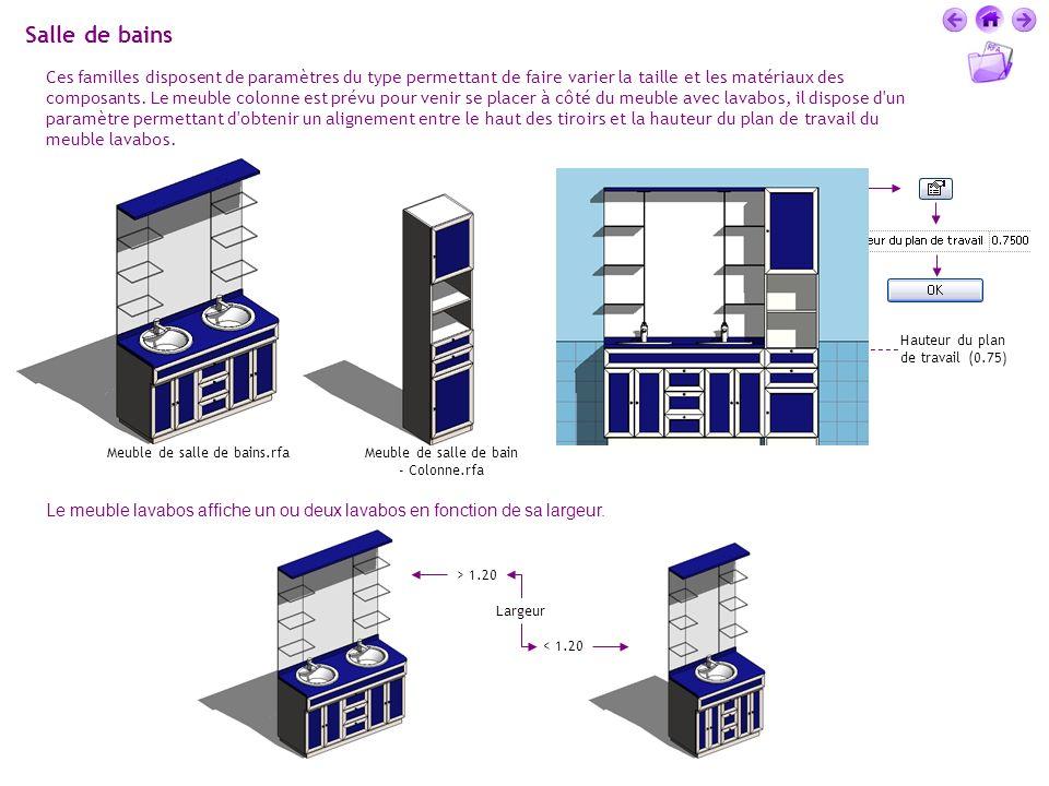 Salle de bains Ces familles disposent de paramètres du type permettant de faire varier la taille et les matériaux des composants. Le meuble colonne es
