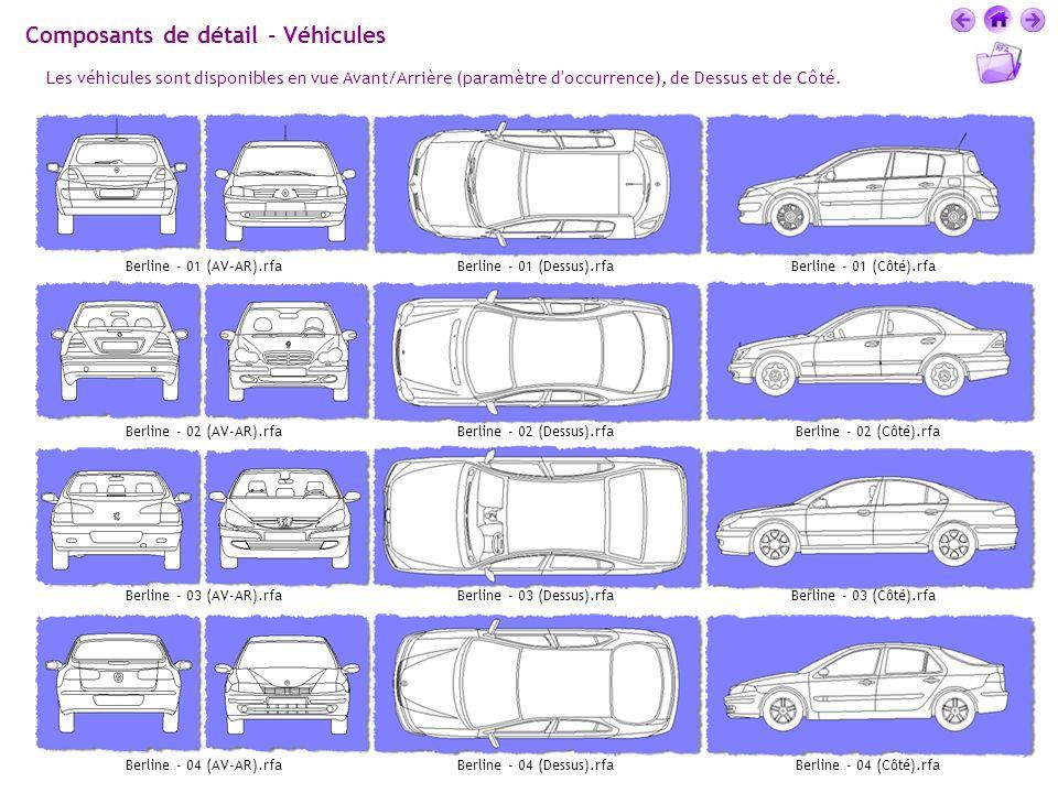Composants de détail - Véhicules Les véhicules sont disponibles en vue Avant/Arrière (paramètre d'occurrence), de Dessus et de Côté. Berline - 01 (AV-