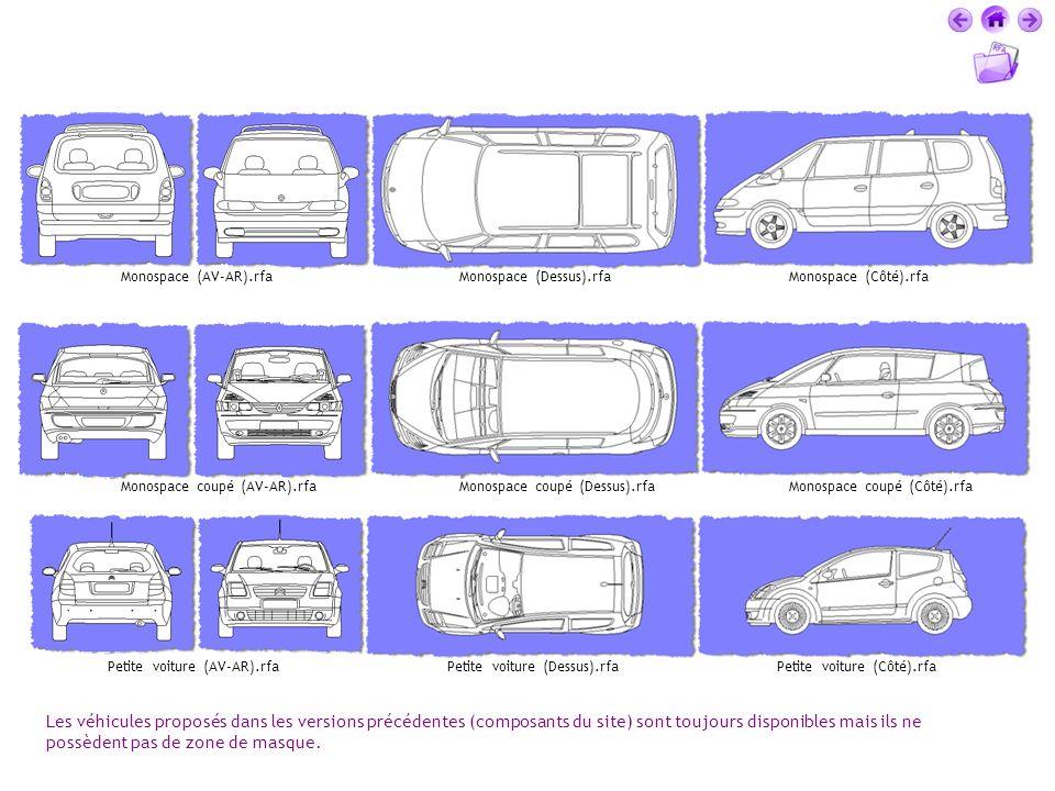 Les véhicules proposés dans les versions précédentes (composants du site) sont toujours disponibles mais ils ne possèdent pas de zone de masque. Monos