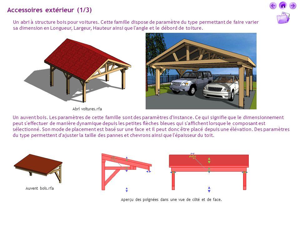 Accessoires extérieur (1/3) Un abri à structure bois pour voitures. Cette famille dispose de paramètre du type permettant de faire varier sa dimension