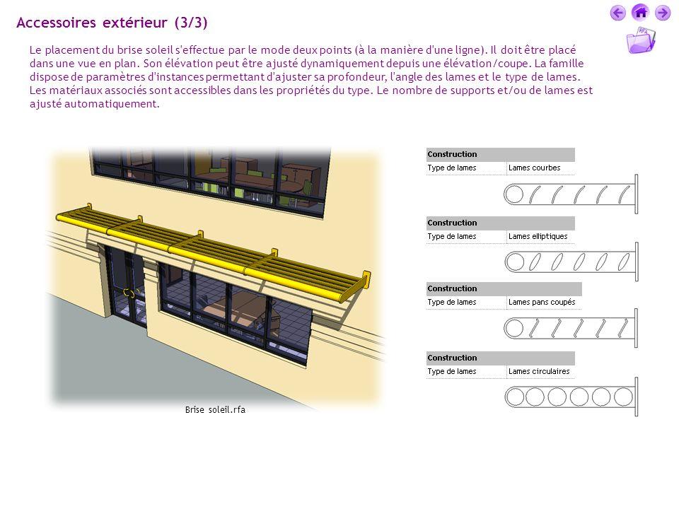 Accessoires extérieur (3/3) Le placement du brise soleil s'effectue par le mode deux points (à la manière d'une ligne). Il doit être placé dans une vu