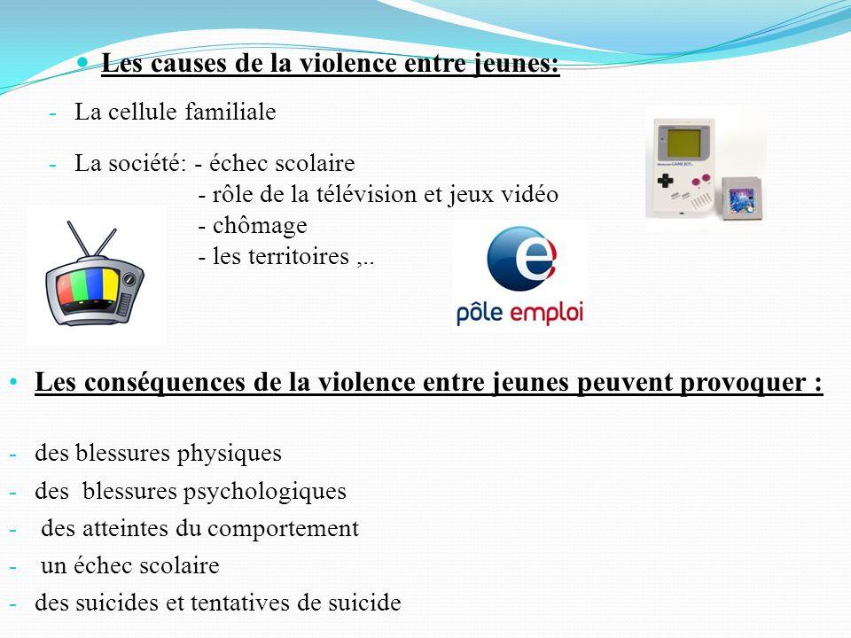 - La cellule familiale - La société: - échec scolaire - rôle de la télévision et jeux vidéo - chômage - les territoires,.. - Les causes de la violence