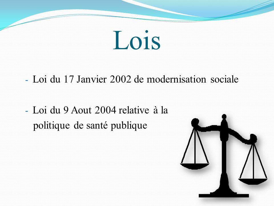Lois -L-Loi du 17 Janvier 2002 de modernisation sociale -L-Loi du 9 Aout 2004 relative à la politique de santé publique