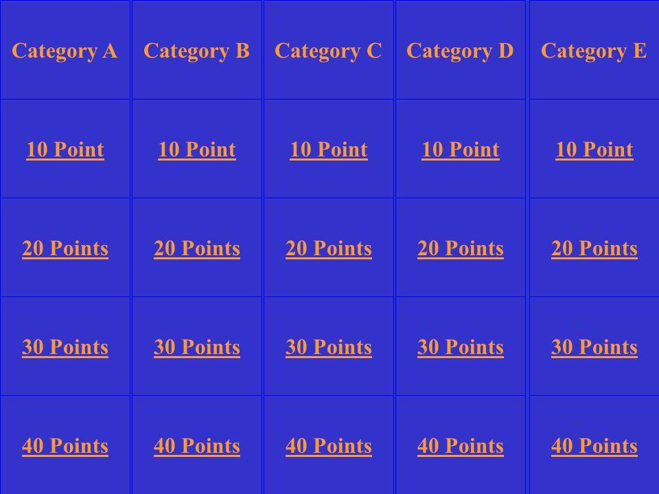 Category BCategory DCategory E 10 Point 20 Points 30 Points 40 Points 10 Point 20 Points 30 Points 40 Points 30 Points 40 Points Category CCategory A