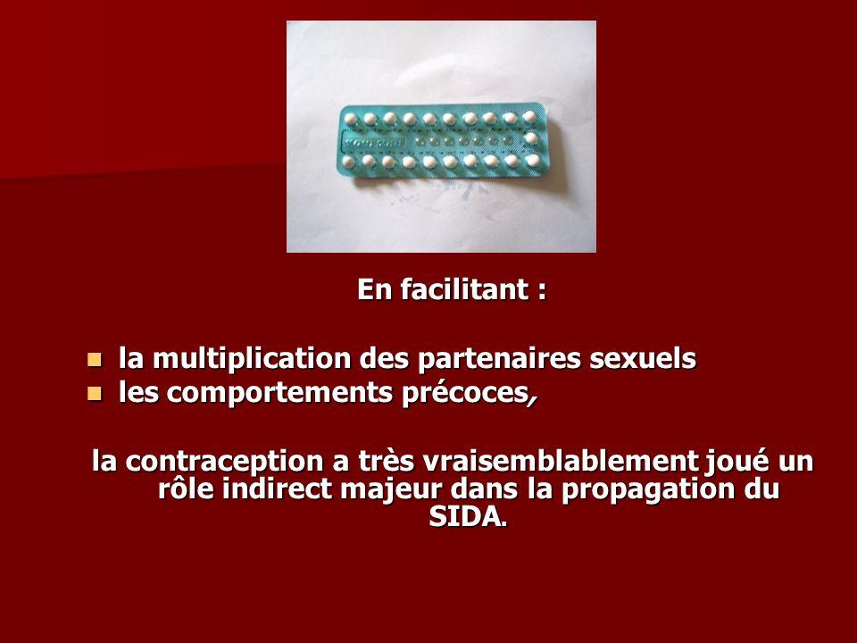 En facilitant : la multiplication des partenaires sexuels les comportements précoces, la contraception a très vraisemblablement joué un rôle indirect majeur dans la propagation du SIDA.