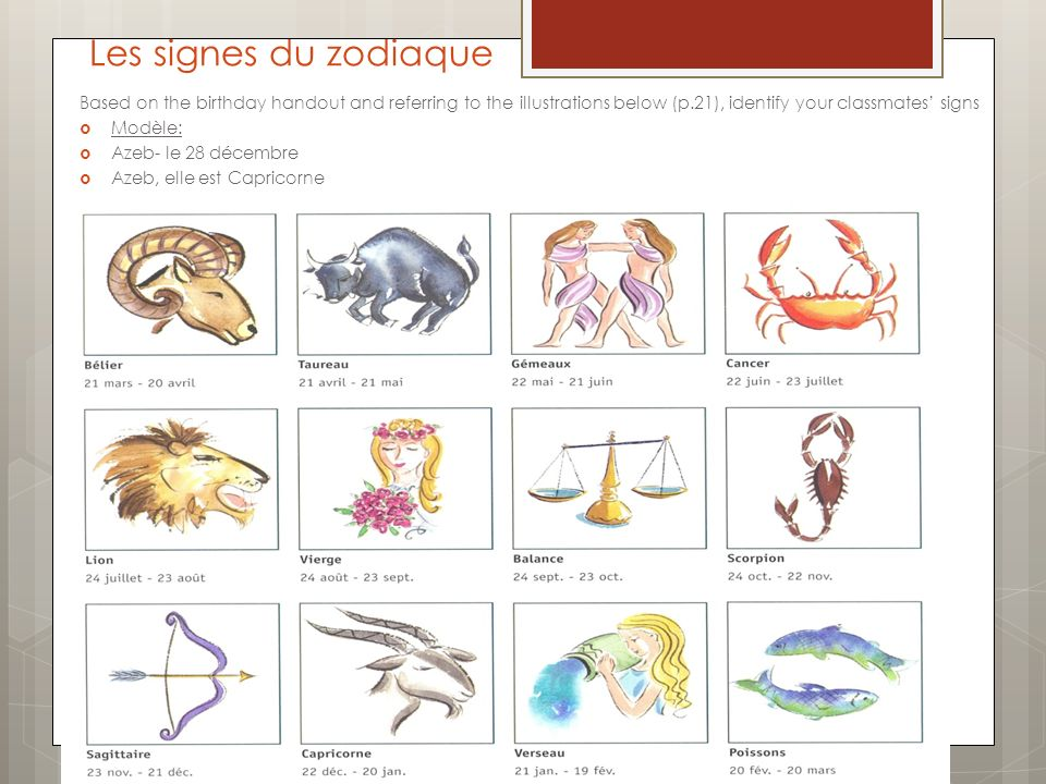 Les signes du zodiaque Based on the birthday handout and referring to the illustrations below (p.21), identify your classmates signs Modèle: Azeb- le 28 décembre Azeb, elle est Capricorne