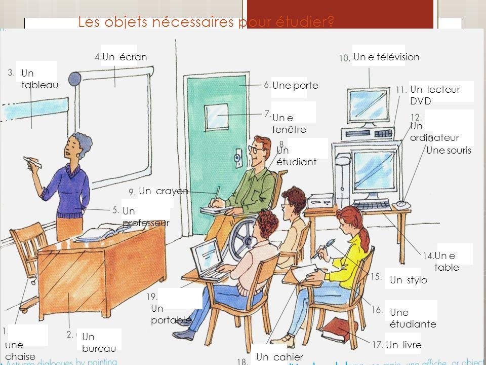 Les objets nécessaires pour étudier? une chaise Un bureau Un tableau Un écran Un professeur Une porte Un e fenêtre Un étudiant Un crayon Un e télévisi