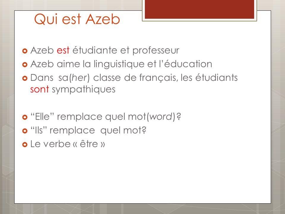 Qui est Azeb Azeb est étudiante et professeur Azeb aime la linguistique et léducation Dans sa(her) classe de français, les étudiants sont sympathiques Elle remplace quel mot(word).