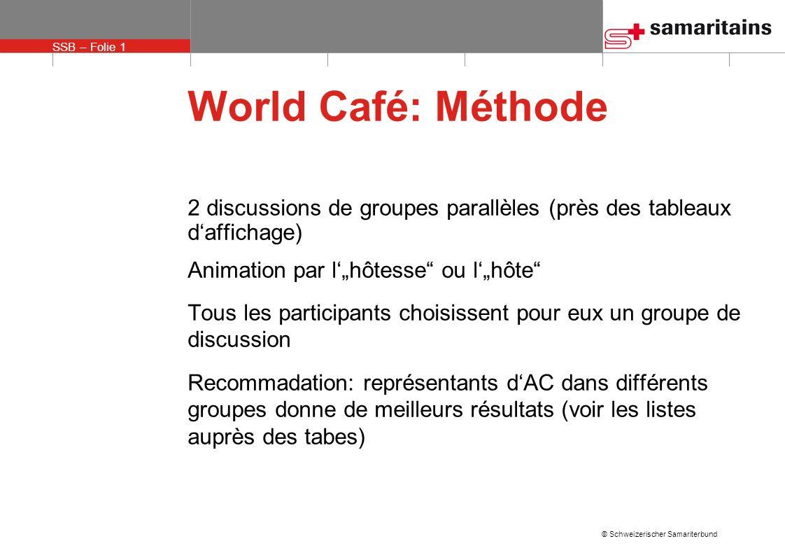 SSB – Folie 1 © Schweizerischer Samariterbund World Café: Méthode 2 discussions de groupes parallèles (près des tableaux daffichage) Animation par lhô