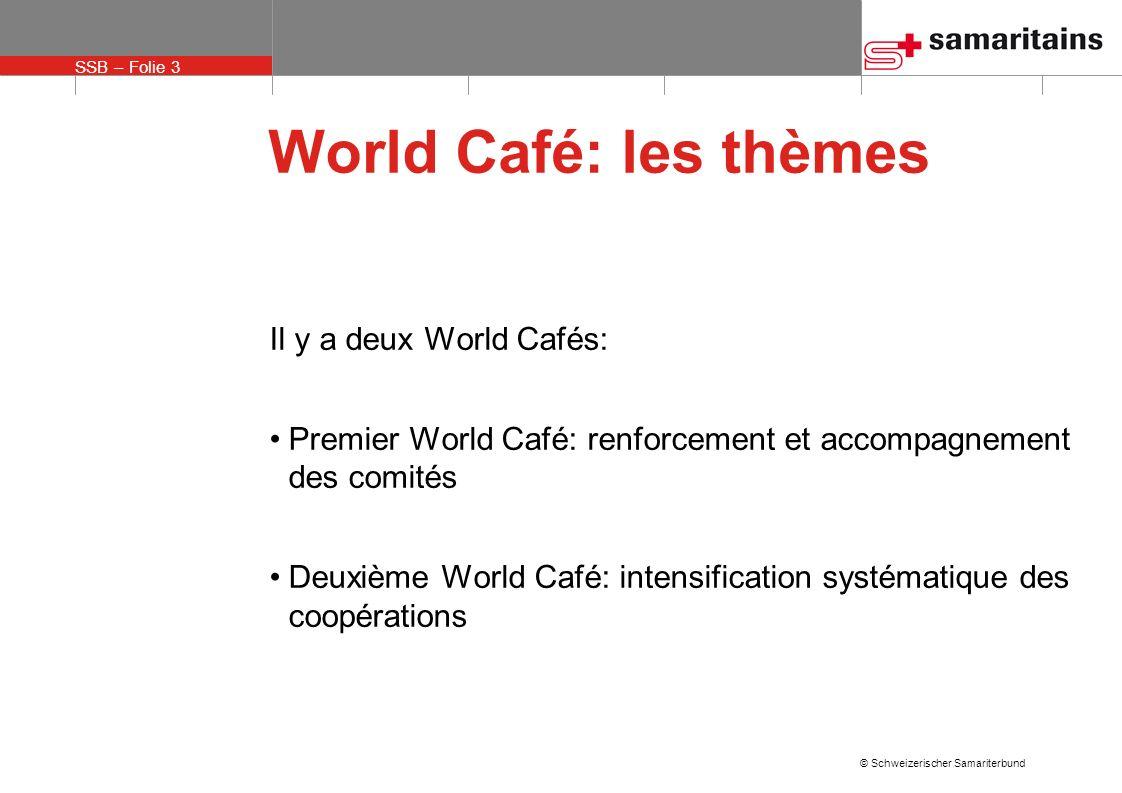 SSB – Folie 3 © Schweizerischer Samariterbund World Café: les thèmes Il y a deux World Cafés: Premier World Café: renforcement et accompagnement des c