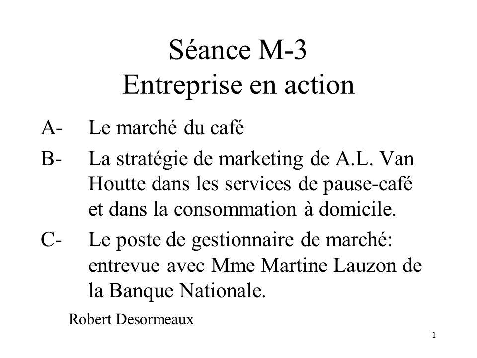1 Séance M-3 Entreprise en action A-Le marché du café B- La stratégie de marketing de A.L.