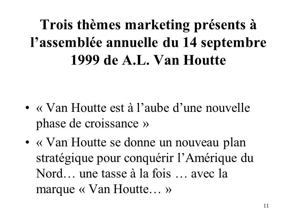 11 Trois thèmes marketing présents à lassemblée annuelle du 14 septembre 1999 de A.L.
