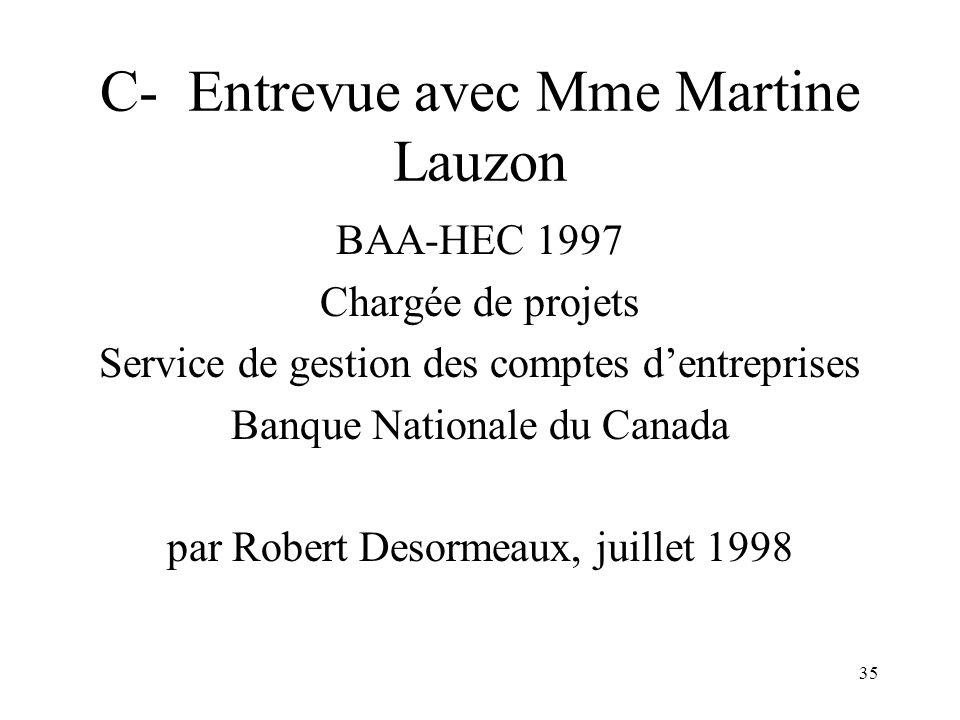 35 C- Entrevue avec Mme Martine Lauzon BAA-HEC 1997 Chargée de projets Service de gestion des comptes dentreprises Banque Nationale du Canada par Robert Desormeaux, juillet 1998