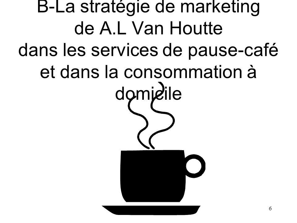27 8- A.L.Van Houtte dans le marché de la consommation à domicile au Canada (suite) Au Québec, lexistence des cafés-bistros A.L.