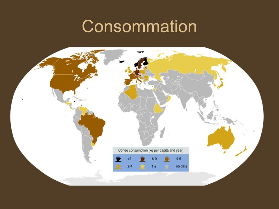 Consommation – quelques chiffres Les pays industrialisés consomment environ 70 % du café produit dans le monde.
