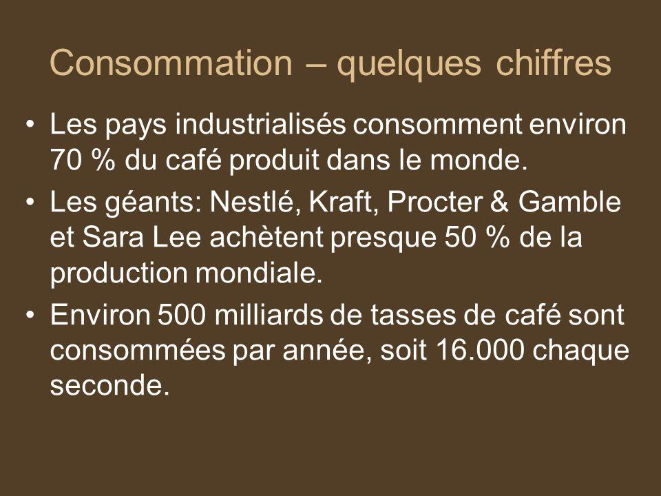 Consommation – quelques chiffres Les pays industrialisés consomment environ 70 % du café produit dans le monde. Les géants: Nestlé, Kraft, Procter & G