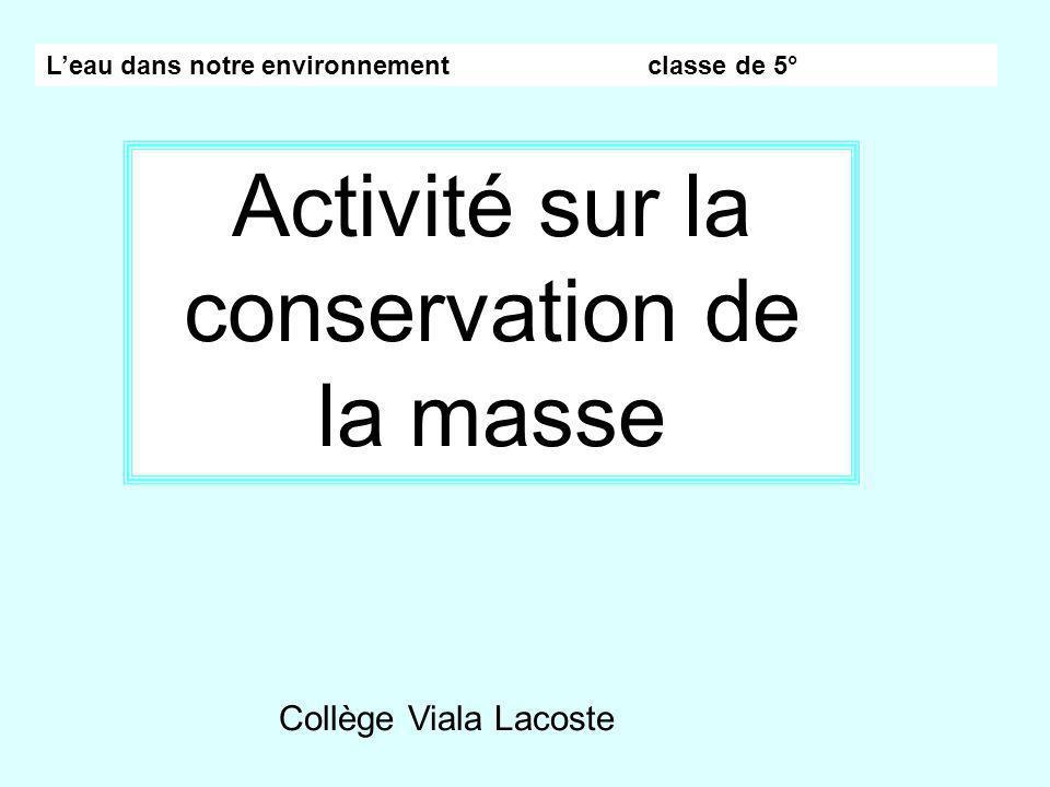 Leau dans notre environnement classe de 5° Activité sur la conservation de la masse Collège Viala Lacoste