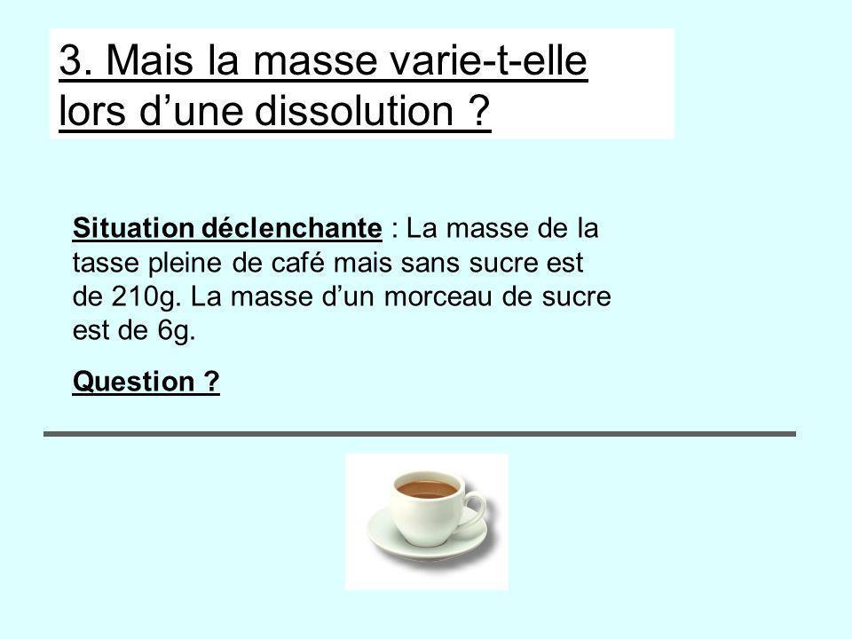 3. Mais la masse varie-t-elle lors dune dissolution ? Situation déclenchante : La masse de la tasse pleine de café mais sans sucre est de 210g. La mas