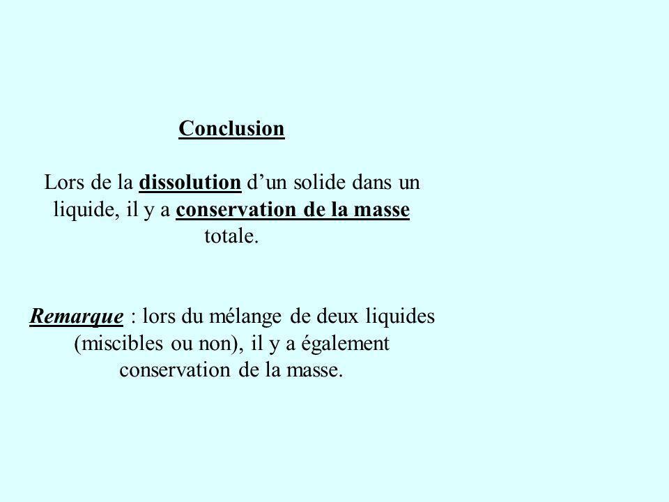 Conclusion Lors de la dissolution dun solide dans un liquide, il y a conservation de la masse totale. Remarque : lors du mélange de deux liquides (mis