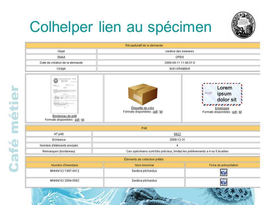 Café métier Colhelper lien au spécimen