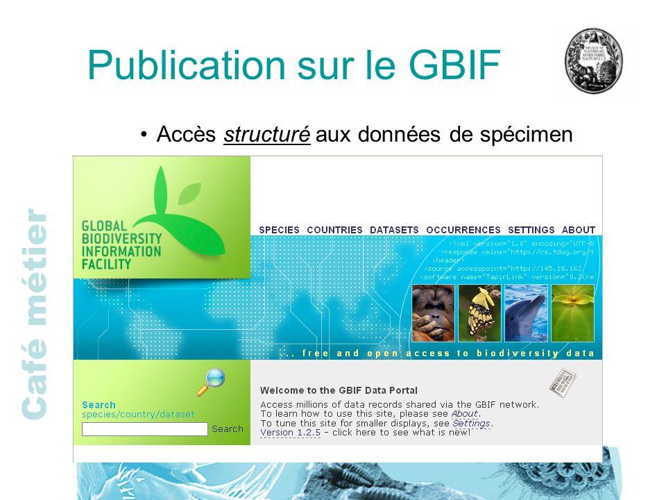 Café métier Publication sur le GBIF Accès structuré aux données de spécimen