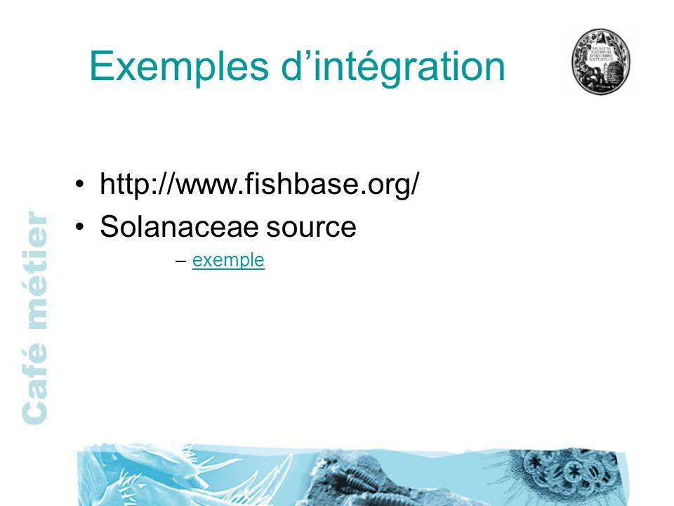 Café métier Exemples dintégration http://www.fishbase.org/ Solanaceae source –exempleexemple