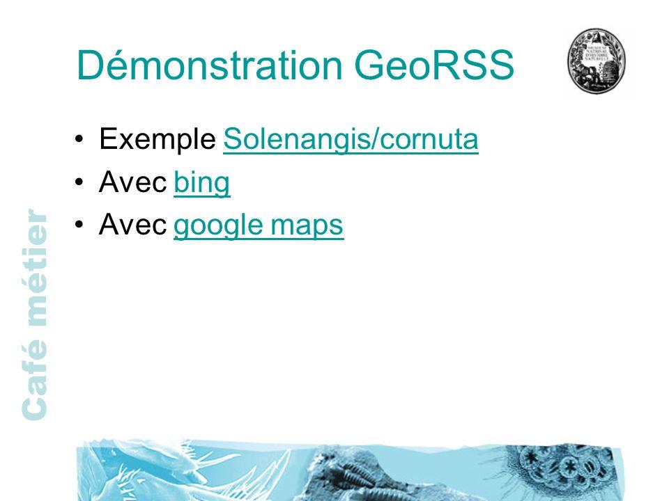 Café métier Démonstration GeoRSS Exemple Solenangis/cornutaSolenangis/cornuta Avec bingbing Avec google mapsgoogle maps