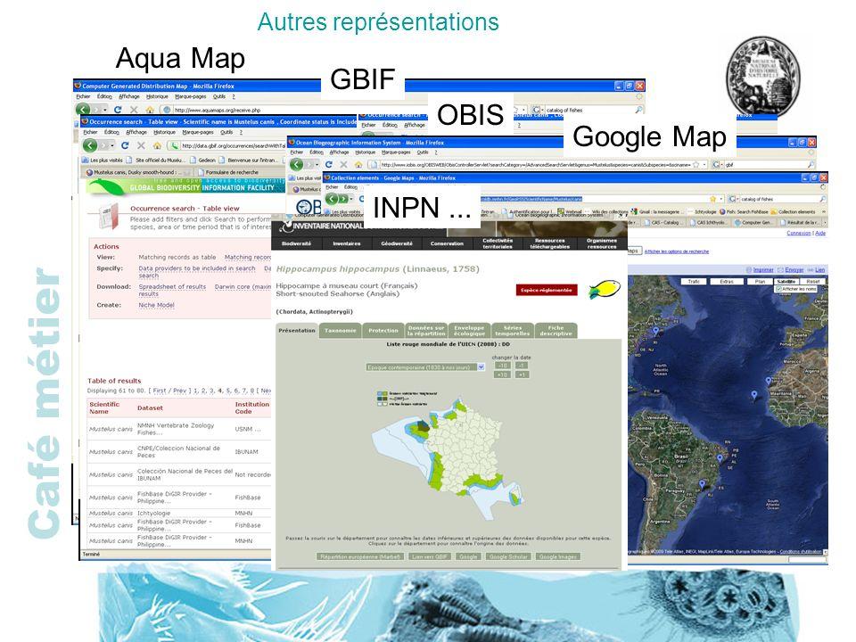 Autres représentations Aqua Map GBIF OBIS Google Map INPN...