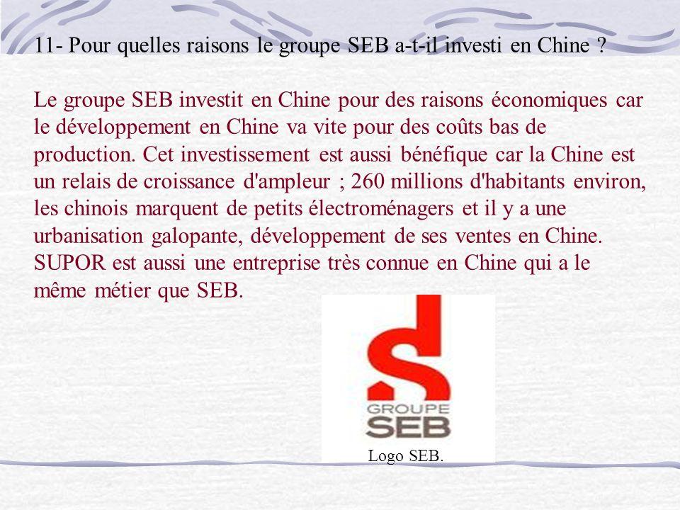 11- Pour quelles raisons le groupe SEB a-t-il investi en Chine .