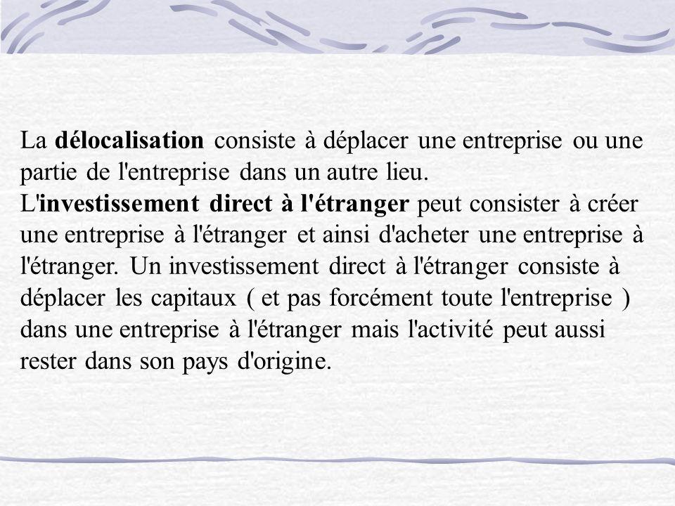 La délocalisation consiste à déplacer une entreprise ou une partie de l entreprise dans un autre lieu.