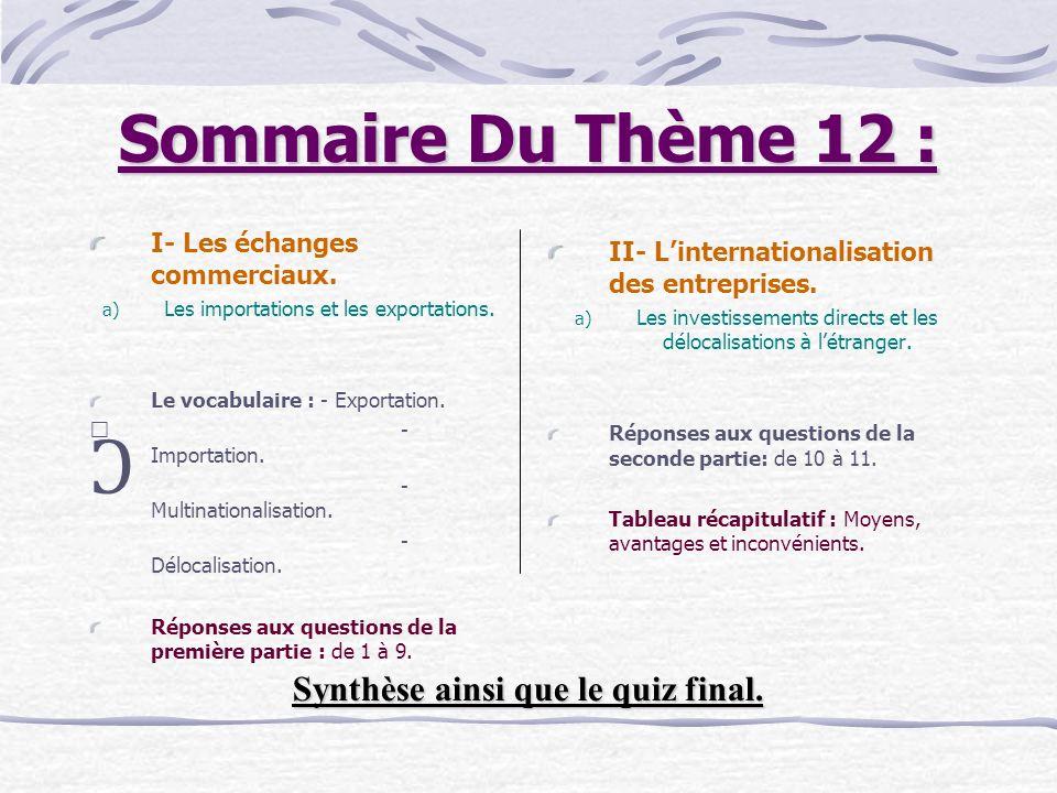 Sommaire Du Thème 12 : I- Les échanges commerciaux.