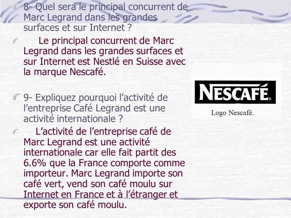 8- Quel sera le principal concurrent de Marc Legrand dans les grandes surfaces et sur Internet .