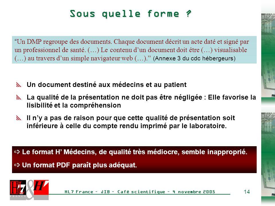 14 HL7 France – JIB – Café scientifique – 4 novembre 2005 Sous quelle forme .